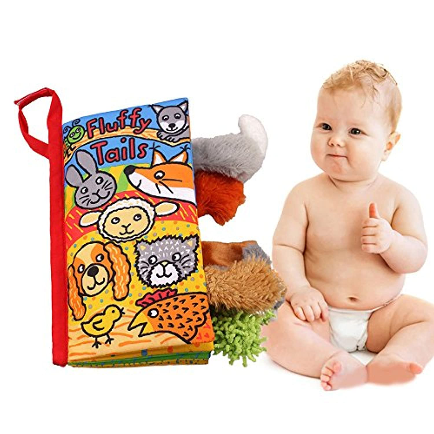 (Puppy Tails) - LUCKSTAR Baby 3D Cloth Book - Baby Reading Cloth Book Tails Animals Shape & Colour Recognition Toys Animals Book Baby Toy Cloth Development Books Educational Toy (Puppy Tails)