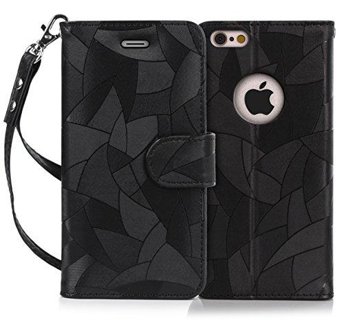 iPhone6s ケース iPhone6ケース,Fyy 100%手作り 高級PUレザーケース 横開き 手帳型ケース カードポケット スタンド機能 マグネット式 ストラップ付き スマホケース スマホカバー ブラック