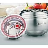 CORCOPI 15㎝ 二重中空構造 魔法瓶 のような ステンレスボウル 保温 保冷 耐熱 断熱 に優れた 蓋付き サービング ボール 全5サイズ