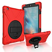iPad 2/3/4 Back Case, DIGIC Hybrid PC Silicone Armor Defender Cover with Hand Strap 360 Degree Rotation Stander Full Protective Tablet Shell for Apple iPad 2/3/4, Red