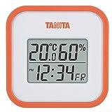 タニタ(Tanita) 温湿度計 デジタル オレンジ TT-558 OR 壁掛け 時計付き 卓上 マグネット
