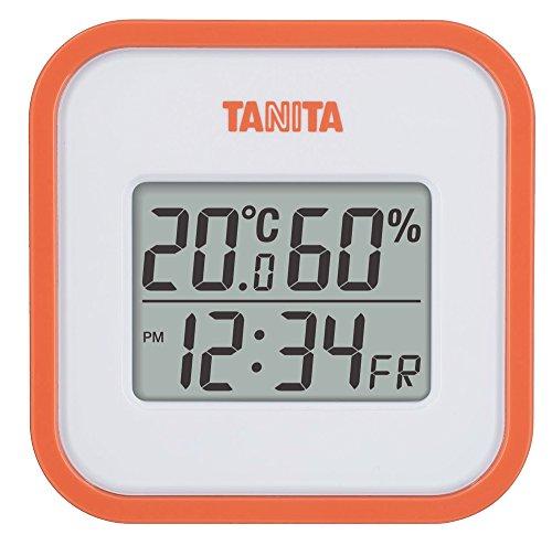 タニタ デジタル温湿度計 置き掛け両用タイプタイプ/マグネット付 オレンジ TT-558-OR