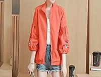 春と夏の刺繍野球ユニフォーム薄いコート日焼け止めの服の気質緩い短いジャケット女性の服,赤,M DYY