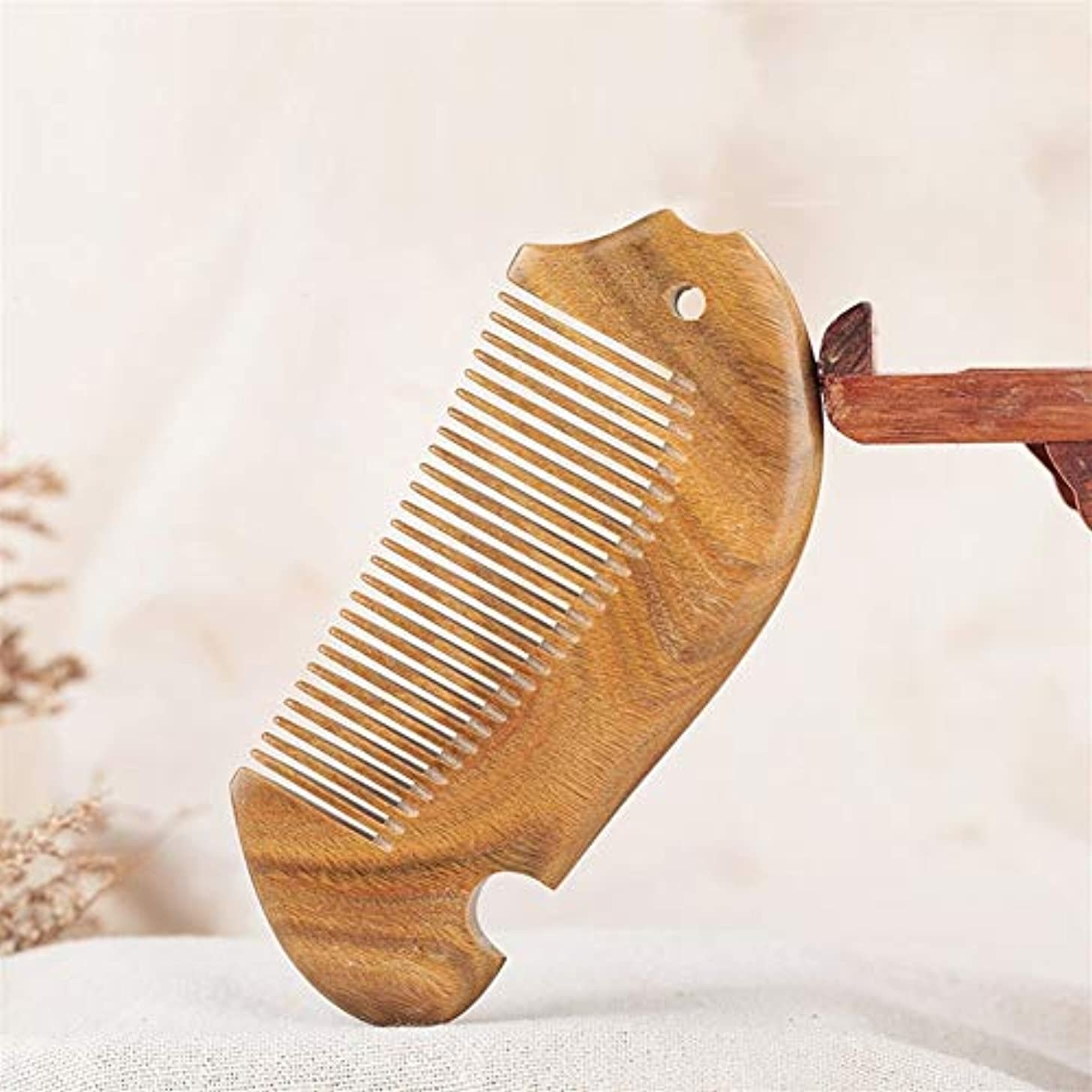 のホスト隣人いつGuomao ナチュラルグリーンサンダルウッドウッドコーム魚型コーム厚型サンダルウッドコーム (Size : 12.5*5.3*1.1 cm)