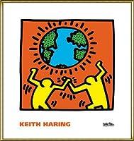 ポスター キース ヘリング KH02 額装品 アルミ製ハイグレードフレーム(ゴールド)