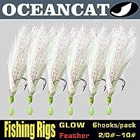 OceanCat 10個パック フック6個セット サビキホワイトフェザーフィッシュスキン ストリングフック 釣りルアー 海水淡水ベイトリグ タンクル 2/0#1/0#2#4#6#8#10#12#14 3#