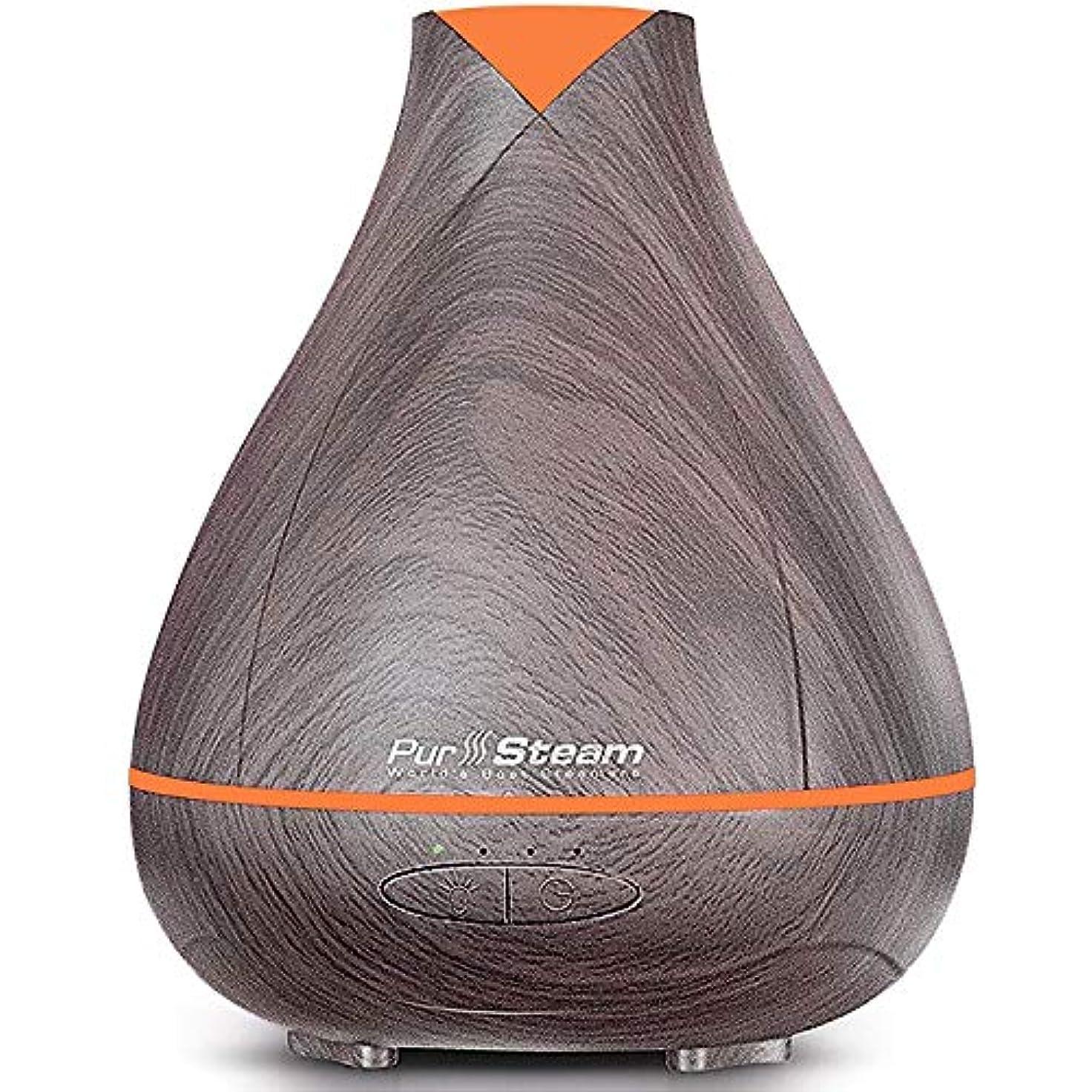 ハンサム移民分類するPurSteam Essential Oil Diffuser, Wood Grain Aromatherapy Diffuser Ultrasonic Cool Mist Humidifier with Color LED...