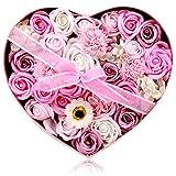 フラワーソープ 石鹸の花 ソープフラワー 枯れないお花 母の日 バレンタインデー 誕生日 お祝いや休日の贈り物に最適です 29.2 * 26 * ..