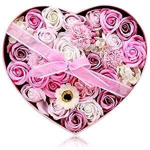 フラワーソープ 石鹸の花 ソープフラワー 枯れないお花 母の日 バレンタインデー 誕生日 お祝いや休日の贈り物に最適です 29.2 * 26 * 13.2CM