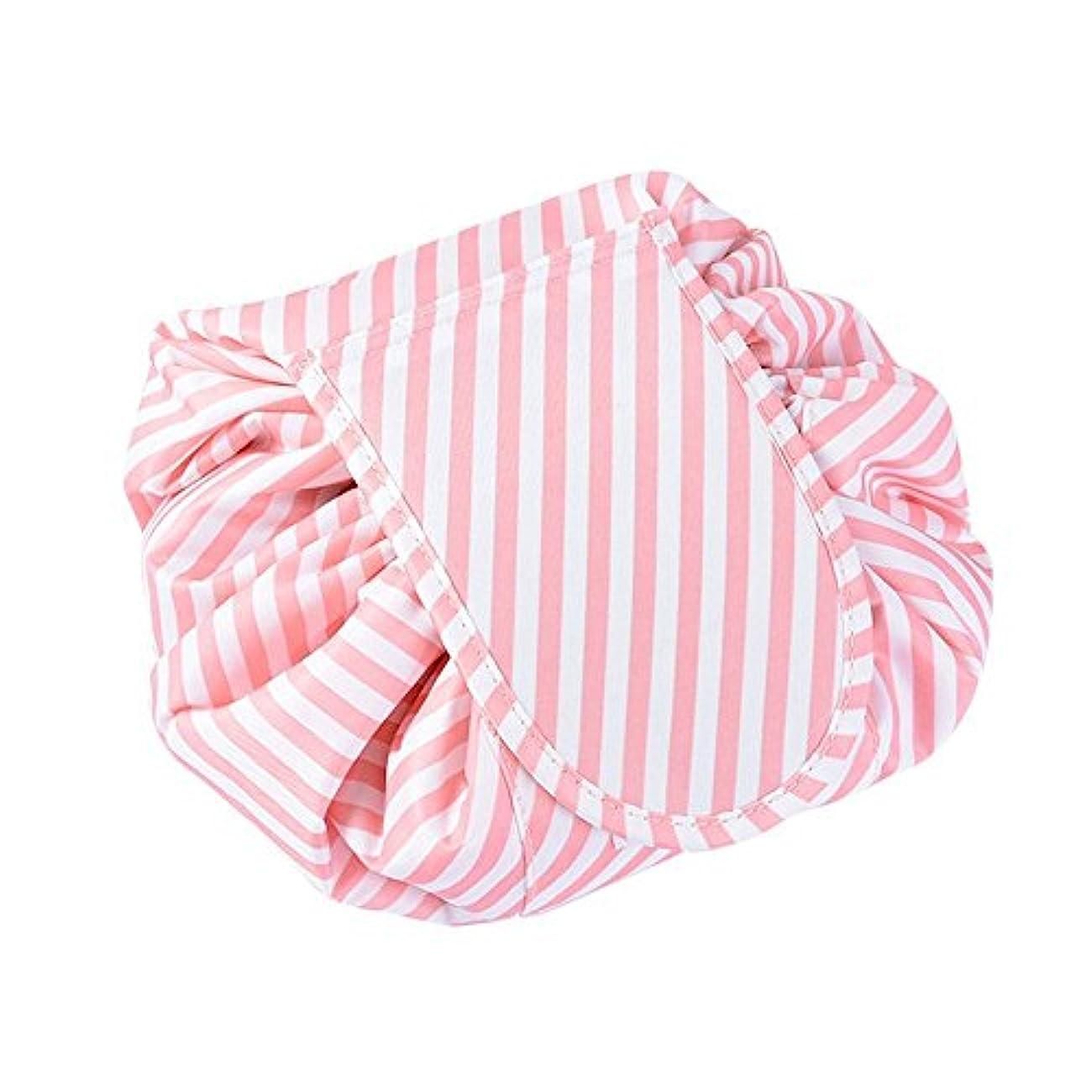旅行化粧バッグ ファッションお手軽カジュアル巾着旅行防水大容量の化粧バック (ピング縞模様)