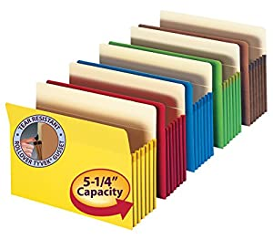 (Assorted) - Smead File Pocket, Straight-Cut Tab, 13cm - 0.6cm Expansion, Letter Size, Assorted Colours, 5 per Pack (73836)