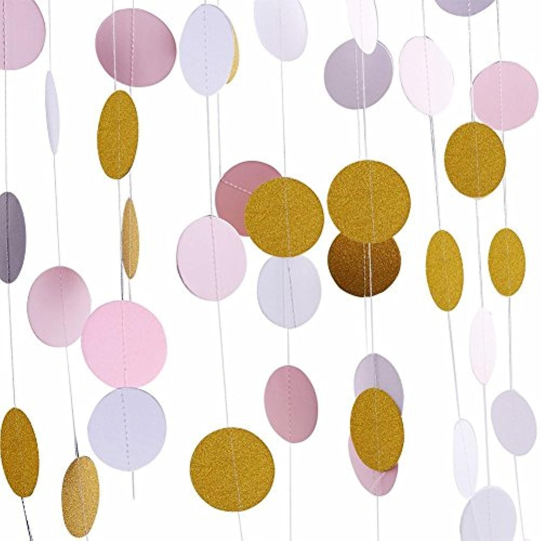 Kixnor スパークリング?ペーパー?サークル?ドット?ストリング - ペーパー?ガーランドハンギング?ハンティング?バニング?バナーは、結婚式やパーティー?バックグラウンド用に飾られています - 直径2 ''直径25.4cm(ゴールド?グリッター、ピンク&ホワイト?ドット)