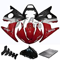 9FastMoto yamaha ヤマハ 2003 2004 YZF-600 R6 03 04 YZF 600 R6 用フェアリング オートバイフェアリングキット ABS 射出成形セット スポーツバイク カウル パネル (レッド & ブラック) Y0257
