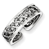 Lex & Lu Sterling Silver Antiqued & Polished Toe Ring