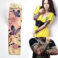 タトゥー柄がプリントされた御洒落なアームカバー トロピカルな蝶と花の70年代のプリント