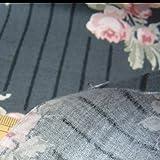 布人倶楽部 有輪商店 岡本洋子さんのシャーティング ソフトチンツストライプ花柄プリント スミクロ 1mカットクロス