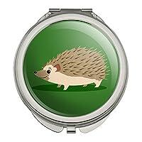 グリーンヘッジホッグコンパクトな旅行財布のハンドバッグの化粧鏡