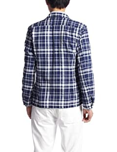 Blended Cotton Check Shirt Jacket 13010300309220: Navy