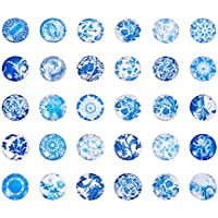 PandaHall ミックス 約200個セット 図案付き ガラス カボション ラウンド ビーズ クリスタル スクエア ドーム 拡大レンズ効果 DIY ジュエリー用 カラフル 12x4mm