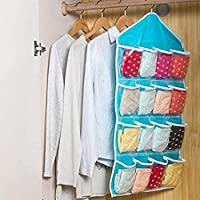 MYL 16 Pockets Clear Over Door Hanging Bag Shoe Rack Hanger Underwear Bra Socks Closet Storage Organiser (Blue)