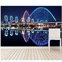 カスタムの美しい家川橋休日ライト夜市壁紙、部屋テレビ壁寝室3d壁画-300cm(W)x 200cm(H)(9'8 '' x 6'5 '')