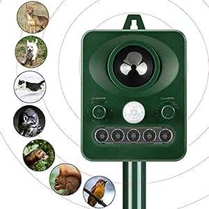 YIPIN 猫 よけ 動物撃退器 超音波&ソーラー式 充電式 害獣退治 IPX4防水防塵  ネズミ 鳥 犬などに対応