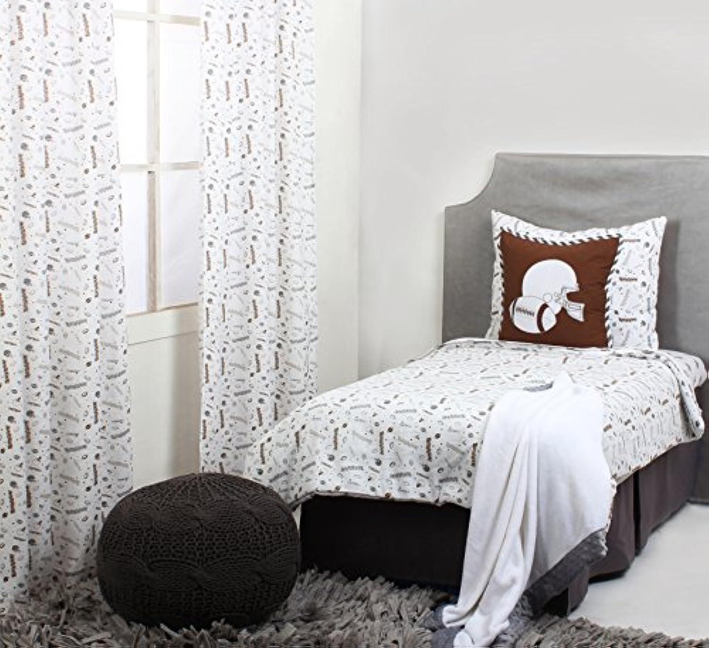 Bacati Muslin 4 Piece Toddler Bedding Set, Football/Brown/Grey by Bacati