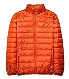 青空販売 メンズ 秋冬 軽量 ダウンジャケット コート スタンドカラー (L, オレンジ)