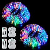 Ollivage Color Changing Rope Lights String Lights for Bedroom, Battery Powered Light Strip 40ft 8 Modes Hanging Fairy Lights