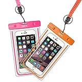 (二枚セット)EOTW®携帯防水ケース スマホ防水ポーチ 防水カバー スマートフォン用防水袋 iPhone Galaxy Xperia 5.7インチ以下の携帯電話に対応 防水等級IPX8(pink+orange)
