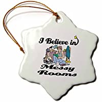 3drose Dooni Designs I Believe In – I Believe In Messy部屋 – Ornaments 3 inch Snowflake Porcelain Ornament orn_105349_1