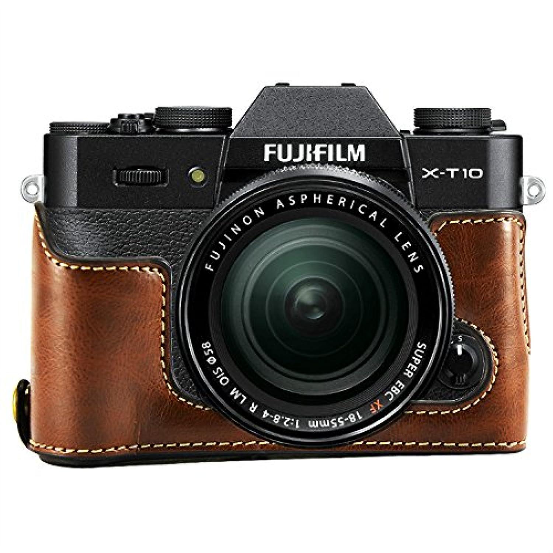 No1accessory XJPT-XT10-D10 ダークブラウン Fuji Fujifilm X-T10 XT10 X-T20 XT20 専用 PU 半分レザー レフ カメラバッグ カメラケース