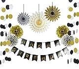 SUNBEAUTY リボン付  ペーパーファン ペーパーフラワー ポンポン バースデーバナー サークルガーランドの組み合わせ 写真背景 誕生日飾り付け ブラック ゴールド ホワイト (10点セット)