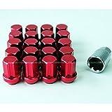 送料無料 ロックナット 盗難防止 ホイールナット M12 P1.25 19HEX 20個セット 専用ソケット付き レッド