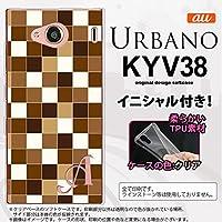 KYV38 スマホケース URBANO V03 ケース アルバーノ ブイゼロサン イニシャル スクエア 茶 nk-kyv38-tp1021ini T