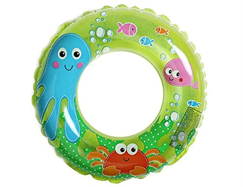 InnoBase 浮き輪 子供用 カラフル 水晶のような光沢 水遊び かわいい ベビーフロート (グリーン)