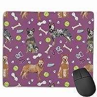 オーストラリアの牛犬青と赤のヒーラーとおもちゃ - アメジストマウスパッド 25 x 30 cm