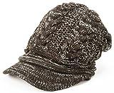 クイーンヘッド 小顔効果 防寒 ウォームニットキャスケット 帽子 レディース 大きいサイズ ニット帽 つば付き ニット つば広 (フリーサイズ 約57-61cm ブラウンホワイト)