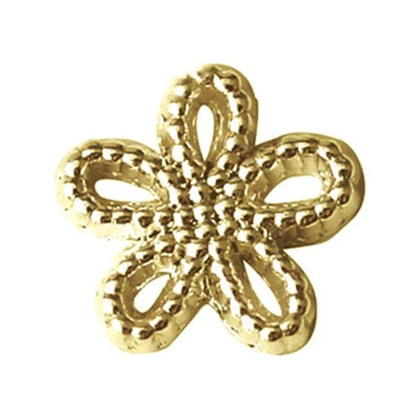 影響力のある登場水銀のプリティーネイル ネイルアートパーツ ブリオンシャイニーフラワーM ゴールド  12個