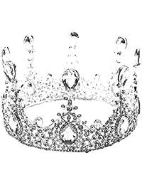 [kanrome]王冠 ティアラ ラウンドクラウン 結婚式 お姫様 花嫁 お祝い 写真 忘年会 パーティー ギフト 贈物 髪飾り 発表会 誕生日