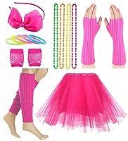 女の子用 80年代アクセサリーセット チュチュスカート ネオンブレスレットネックレスセット one size ピンク ALCUY-KID80