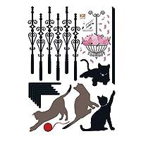 ウォールステッカー 猫 [階段で遊んでる猫] おしゃれ DIY 壁紙 シール ウォールシール はがせる 壁シール