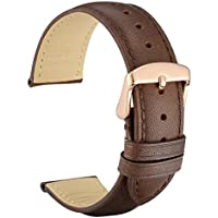 WOCCI 19mm Vintage Leather Watch Band with Rose Gold Buckle, Replacement Watch Strap (Dark Brown/Tone on Tone Seam)