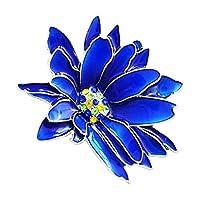 sharprepublic 青いエナメルファンシーラインストーンの花のスカーフのリングのブローチピンの女性パーティージュエリー - フラワー型