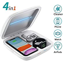 Wireless Charger Phone Cleaner, 4 in 1 QI Wireless Phone Charging Station, Smartphone Cleaning Multi-Function Box Compatible with iPhone 11 Pro Max X XS XR 8 Apple Watch 5 4 3 Airpods Pro 1 2