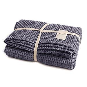 ユクスス(yucuss) マルチカバー ソファーカバー 綿100% ワッフル生地 (双糸使用) さらっと 快適 長方形(ワイドキングサイズ 200×240cm) ネイビー 55445207