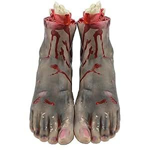 YIJIA1ペアの現実的な血なまぐさい残った手足壊れた手足のハロウィーンホラーの小道具 A02