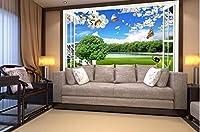 Bzbhart 3D壁紙壁画シルクウォールステッカーステレオウィンドウ風光明媚な風景テレビ設置壁 壁壁画壁紙-200cmx140cm