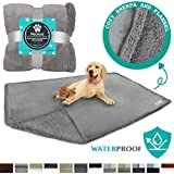 PetAmi WATERPROOF Dog Blanket for Bed, Couch, Sofa | Waterproof Dog Bed Cover for Large Dogs Puppies | Grey Sherpa Fleece Pet Blanket Furniture Protector | Reversible Microfiber | 80 x 55 (Light Grey)