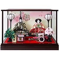 雛人形 ケース入り親王飾り 間口55×奥行28.5×高さ38.5cm ワイン塗枠ガラスケース 3154